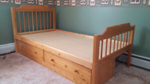 Single bed frame with drawers