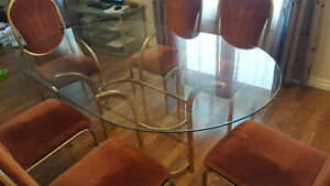 Dining room set: glass table & 6 chairs
