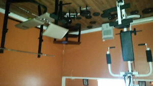 Home gym with 315lbs of steele weights