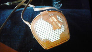Genuine Leather Pillbox Purse