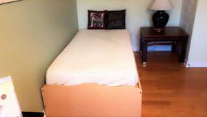 Solid Pine Captains Bed, Mattress And 6 Drawer Chest