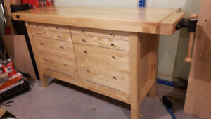 New Very Nice Clasic Wood Workers Maple Bench with Wood Vise