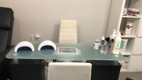 Rental nail spa chair space in downtown Vancouver 5-star rated