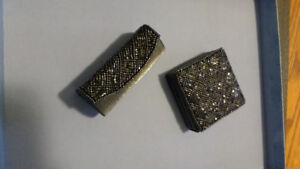 Silver/Gray beaded Compact mirror and lipstick case with mirror