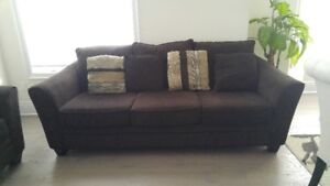 Two Brown Chenille Couches 100 inch each