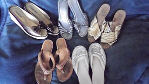 Various slip-ons and sandals in Size 5.