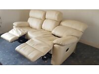 Sofa / settee 3 seater, cream leather recliner ( not electric ) VGC