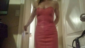 red leather strapless dress