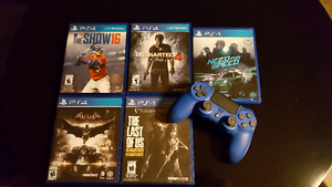 BLUE PS4 CONTROLLER /GAMES ( prices are listed)
