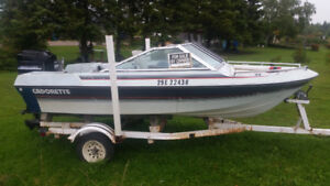1992 Mercury 70 horse with fiberglass boat and trailer