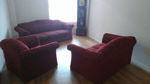 Chair, Leather sofa and Fabric sofa set for sale