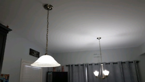 2 matching white frosted brushed nickel lights $10 each
