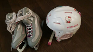 Girls size 4 skates and size 6 helmet