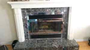 Wood fireplace with mantle