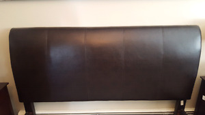 Brown leather headboard and footboard