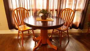 Oak table and 2 chairs