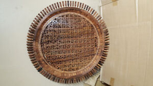 Handcrafted kalma on solid wood 18''round wall hanging