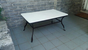 PIER 1 IMPORTS WOOD TOP STEEL BASE TABLE