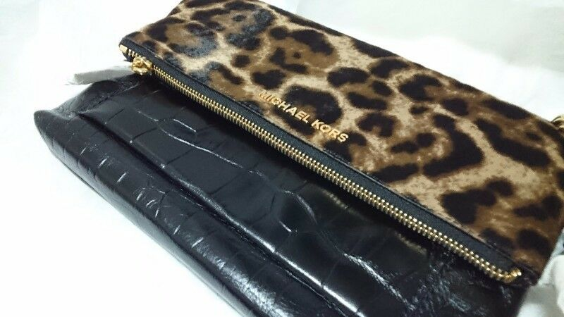 71de1d5f5dce MICHAEL KORS JET SET TRAVEL MIXEDMEDIA LARGE FLAP CLUTCH CROSSBODY BAG - LEOPARD  HAIRCALF