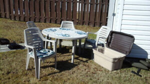 Patio Table & Chairs with storage box
