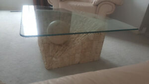 Marble stone coffee side table glass set