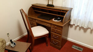 Beautiful Roll-Top Desk and Chair
