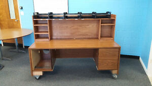 Rolling desk with locked drawer