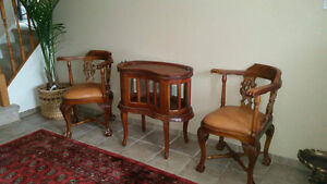 ANTIQUE, HAND CRAFTED -  table and 2 chairs