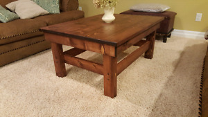 Handmade coffee table with end tables.