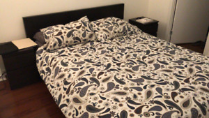 MALM queen frame, mattress and night tables. Black color