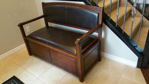 Front Entrance Solid Wood Bench w Cedar-lined Storage under seat