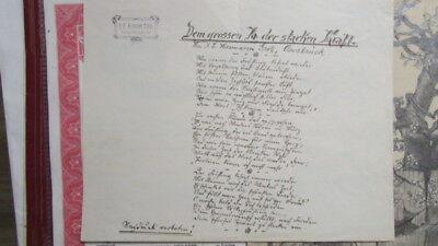 "gedicht handschrift ""Dem grossen Ja der Starken Kraft"" Hermann Grote Osnabrück"