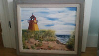 Lighthouse Beach Oil Painting Local Artist Professionally Framed