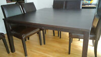 Ikea - Forsa Dining Table Set with Upholstered Henriksdal Chairs
