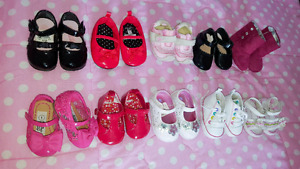 10 pairs of baby shoes size 1 and 2