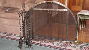 Round Fireplace Screen with the tools -Price  REDUCED