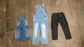 3 set Evie Angel dungarees, dungaree skirt and black jeans age 3 years