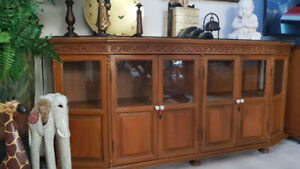 Imported hand-carved teak dining cabinet from Thailand