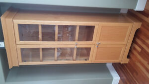 glass door oak storage cabinet