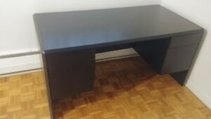 Office/Computer Table, Black, Half Real Wood Half Particle Wood