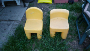2 yellow kids toddler chairs
