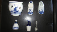 $15 for ALL SIX pieces of Dutch Delft Blue Handpainted Holland