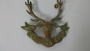 WW1 British Army Seaforth Highlanders brass military cap badge
