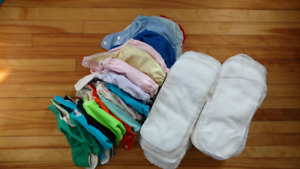 20 cloth diapers s/m with inserts and wetbags