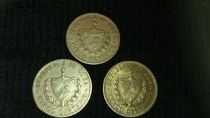 THREE CUBAN, 1946, 5 CENTAVOS COINS