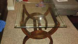 Excellent glass brown end tables