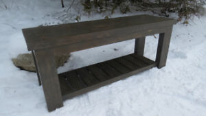 Pine bench with shelf for entryway etc.