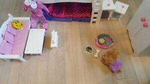 """18"""" Doll Furniture Set, Clothes and Dog"""