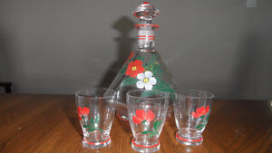Bottle hand painted with 3 glasses