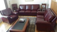 All Leather Living Room Couches & Armchair